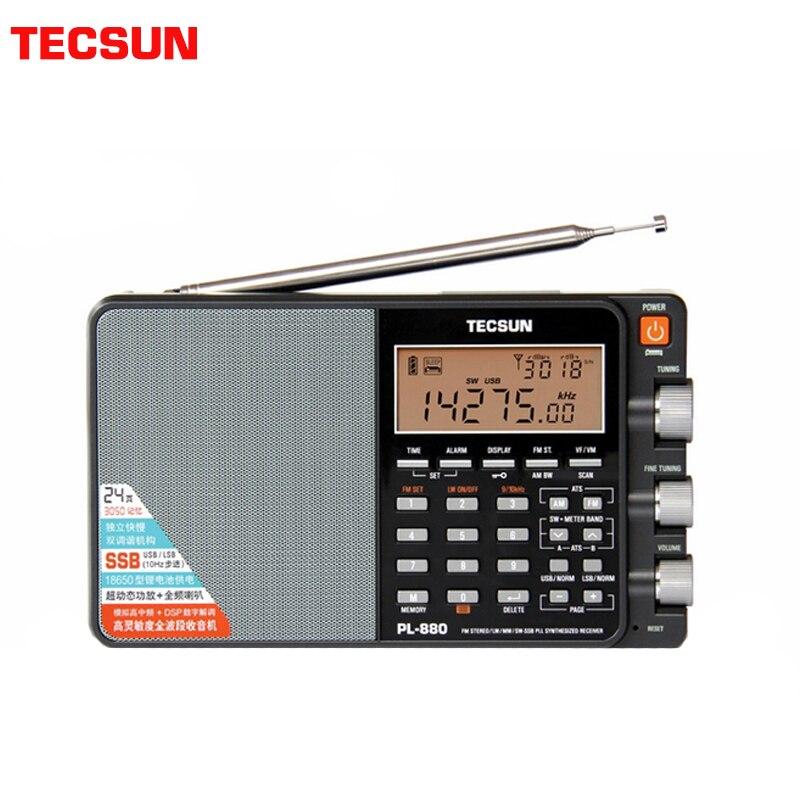 Tecsun PL-880 Radio Full Band Digital Tuned Stereo Short Wave HAM Radio Portatil Am Fm LW/SW/MW/SSB High-end metallic receiver